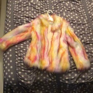 Other - Brand New Girl's Rainbow Faux Fur Coat Size 6
